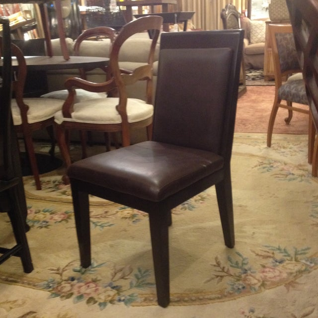 Doug Levin Brown Wood & Leather Side Chair - Image 2 of 7