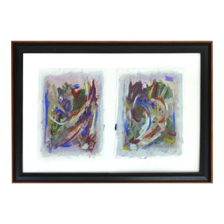 Large Abstract Diptych Signed Acrylic on Paper Dated 2014, Framed Under Glass For Sale