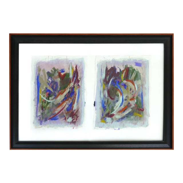 Large Framed Abstract Diptych Signed Acrylic Painting on Paper Dated 2014 For Sale