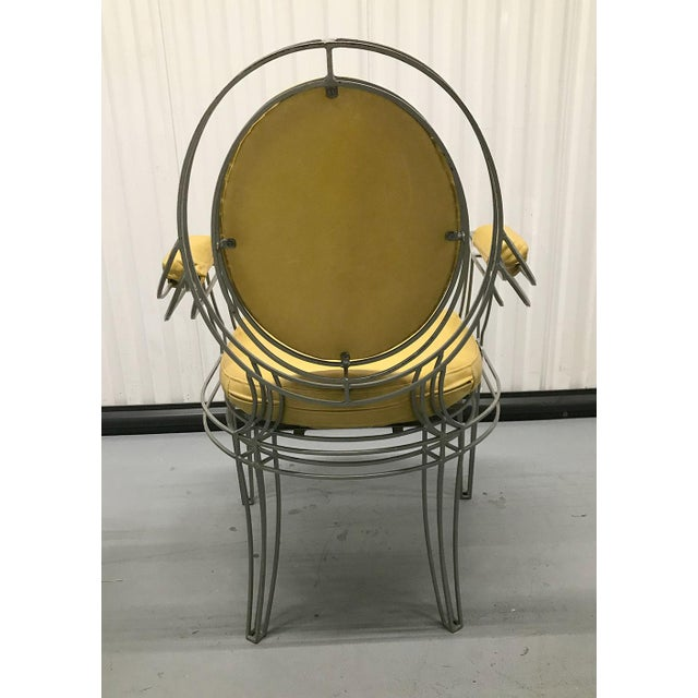 Yellow Casamidy Leather and Iron 'Opera' Armchairs - Set of 4 For Sale - Image 8 of 10