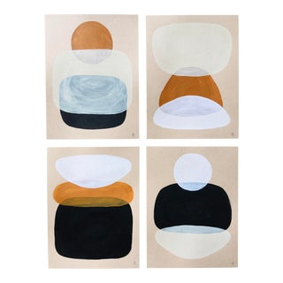 "Contemporary Landscape ""Neutral Colour Study I"" Paintings by Angela Seear - Set of 4 For Sale"