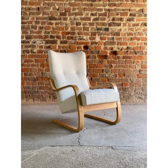 1940s Vintage Alvar Aalto Model 401 Cantilever Lounge Chair in Bouclé by Finmar For Sale - Image 12 of 12