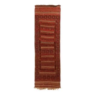 Vintage Geometric Red and Beige Wool Kilim Runner Rug - 2′1″ × 6′9″ For Sale