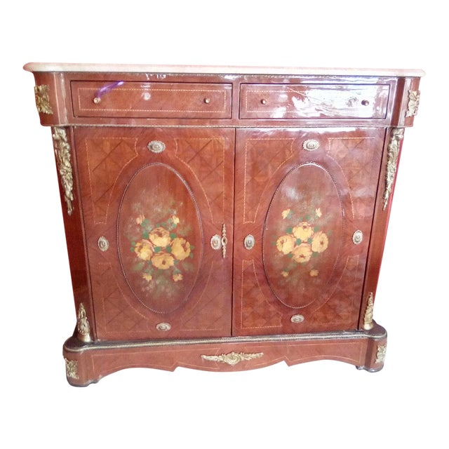 1960 French Server With Painted Floral Motif For Sale