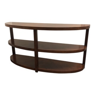 Mid-Century Modern Curved Three-Tiered Wooden Console Table