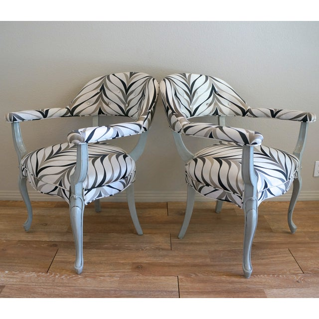 Vintage Art Deco Style Arm Chairs - Pair - Image 3 of 8