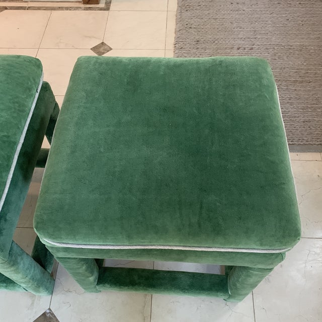 1970s John Mascheroni for Swaim Emerald Green Velvet Parsons Stools - a Pair For Sale - Image 5 of 10
