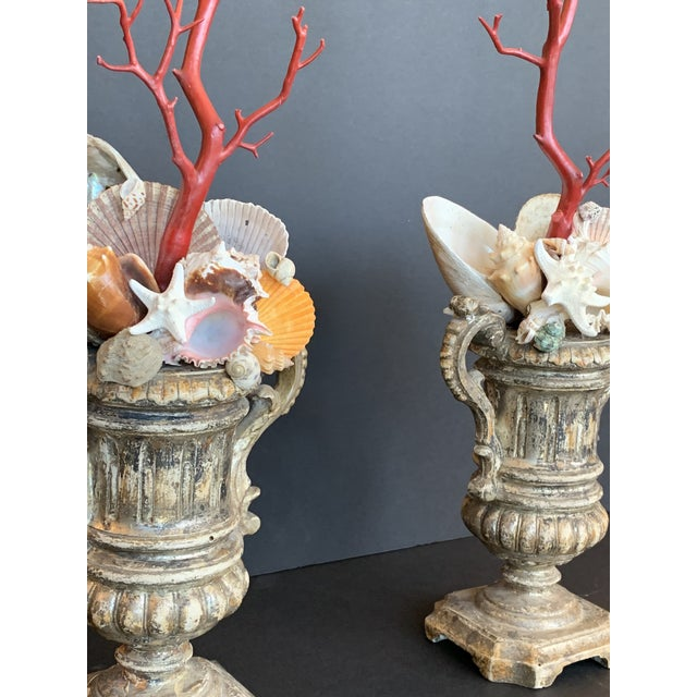 Baroque-Style Carved Silver Gilt Urns With Shell & Faux Coral Composition - a Pair For Sale - Image 10 of 12