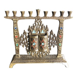 Vintage Hand Painted Brass Menorah For Sale
