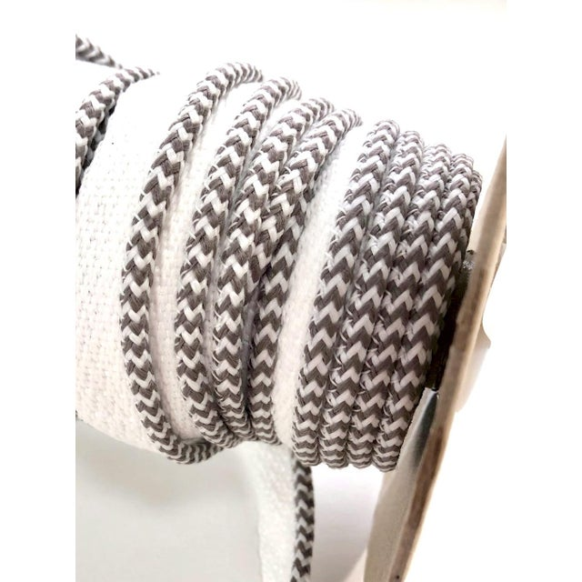 """Modern Braided 1/8"""" Indoor-Outdoor White-Gray Cord For Sale - Image 3 of 10"""