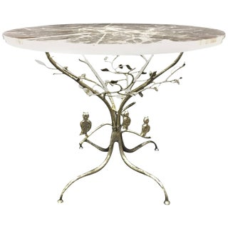 Modern Rock Crystal Table on Hand-Forged Silver-Leafed Iron Base, One of a Kind For Sale