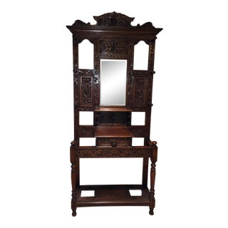 Late 19th Century Antique English Carved Oak Hall Tree Stand For Sale