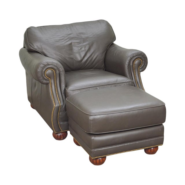 Quality Leather Club Chair W/ Ottoman For Sale