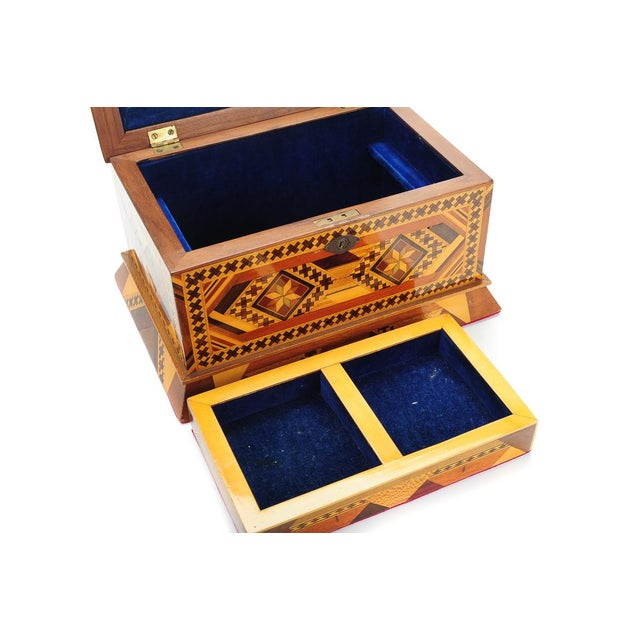 Vintage Geometrical Design Wooden Jewelry Box For Sale - Image 9 of 9