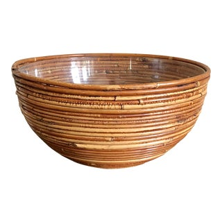 Pencil Reed Rattan Planter Bowl For Sale
