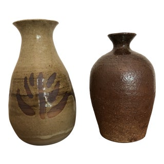 Vintage Earth Tone Studio Pottery Vases - a Pair For Sale