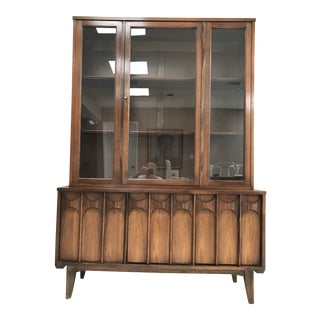 Mid Century Modern Kent Coffey Perspecta Walnut and Rosewood China Hutch Credenza For Sale