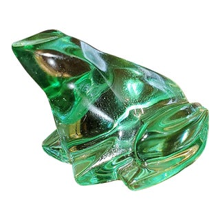 Baccarat Glass Green Frog For Sale