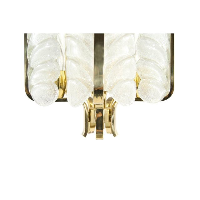 Metal Murano Glass Brass Chandelier by Carl Fagerlund for Orrefors, Sweden, 1960s For Sale - Image 7 of 10
