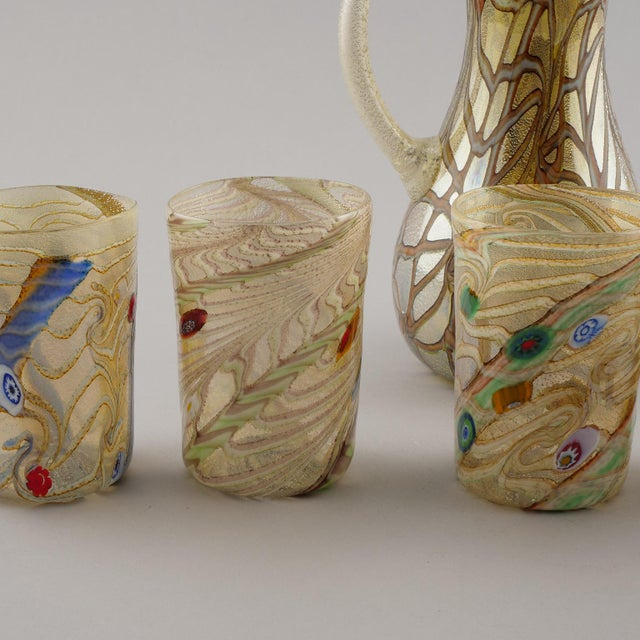 Contemporary Silver and Gold Murano Glass Pitcher with Six Glasses - Set of 7 For Sale In Detroit - Image 6 of 10