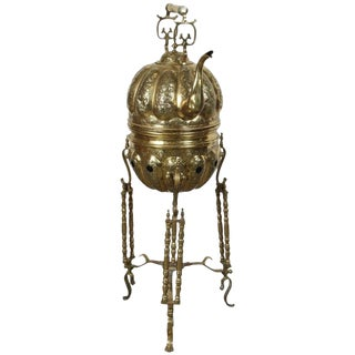 Moroccan Brass Kettle on Stand Handcrafted in Fez Morocco For Sale