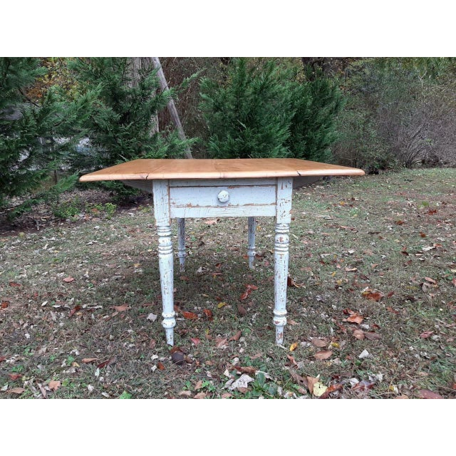 Mid 19th Century 1800's Antique Pine Wood Drop Leaf Farmhouse Painted Distressed Table With Drawer For Sale - Image 5 of 13