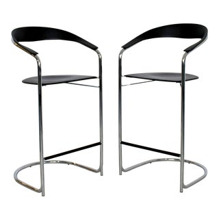 1970s Vintage Thonet Italian Mid Century Modern Bar Stools - a Pair For Sale