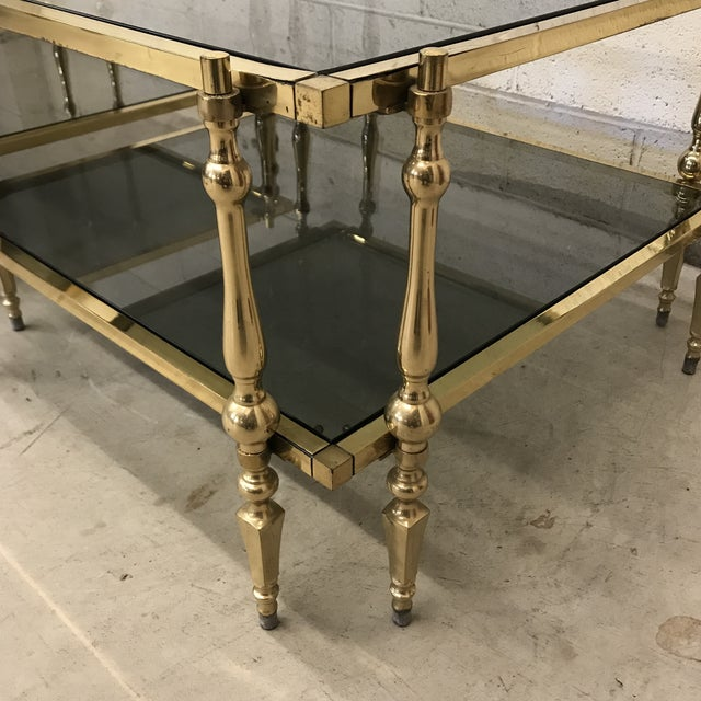 Italian Smoked Glass & Brass End Tables For Sale In Richmond - Image 6 of 11