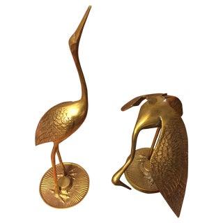 Brass Birds on Round Stands - Pair