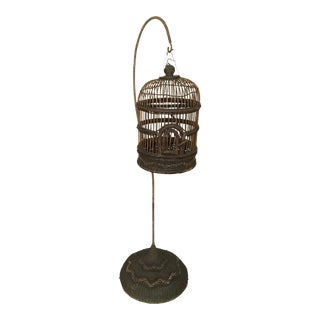 Wooden Birdcage and Curved Stand For Sale