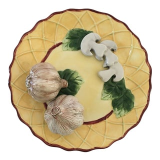 Trompe l'Oeil Decorative Garlic Bulbs & Mushrooms Scalloped Plate For Sale