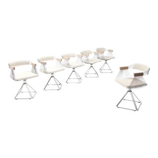 Postmodern Chromed Steel Wire Swivel Chairs With Ivory Wool Seating For Sale