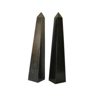 Pair of Mid-Century Modern Black Marble Obelisks For Sale