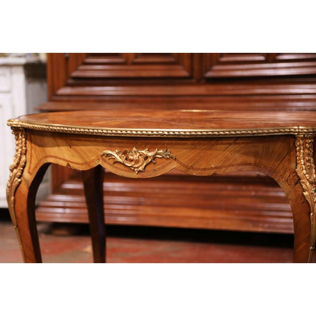 19th Century French Louis XV Oval Walnut Marquetry and Bronze Center Table For Sale - Image 12 of 13