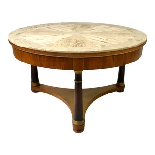 Regency Style Travertine Top Round Tripod Base Coffee Table For Sale