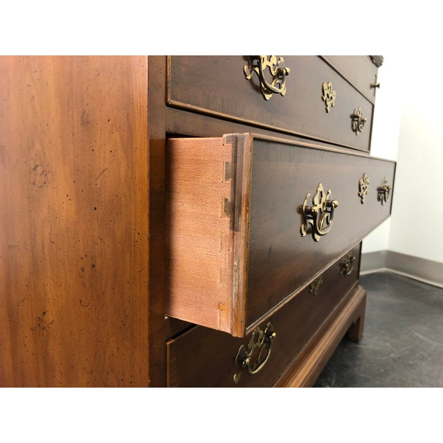 Henredon Chippendale Double Bonnet Top Yew Wood Secretary For Sale - Image 11 of 13