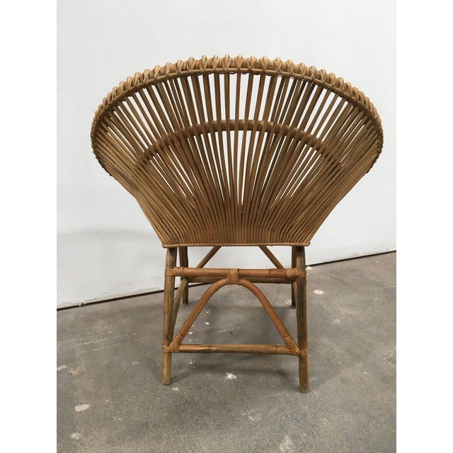 Mid-Century Modern Rattan Circle Chair For Sale - Image 4 of 7