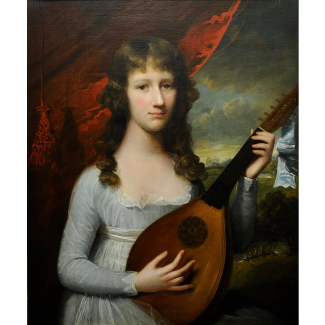 Figurative John Singleton Copley -Girl Playing the Lute-18th Century Oil Painting For Sale - Image 3 of 12
