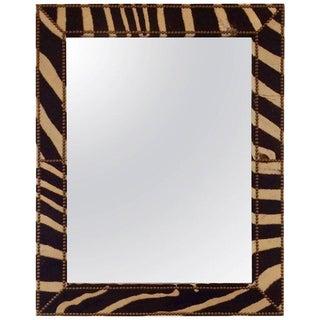 Custom Made. Zebra Hide Wall Mirror For Sale