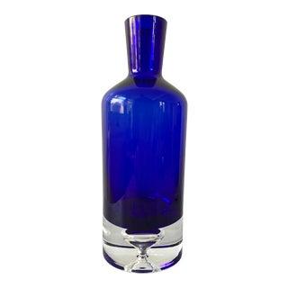 Vintage Cobalt Blue Bubble Glass Decanter For Sale