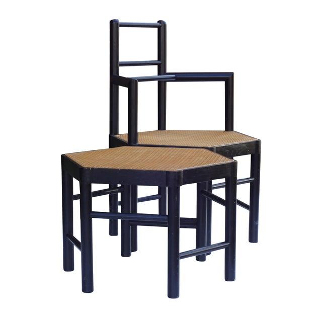 Josef Hoffmann Style Hexagonal Chair & Ottoman Set - Image 6 of 10