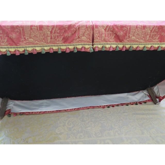 1990s Vintage Chinoiserie Silk Upholstered Tufted Loveseat For Sale - Image 12 of 13
