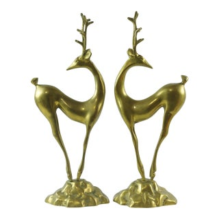 Vintage Art Deco Brass Deer Statues - a Pair For Sale