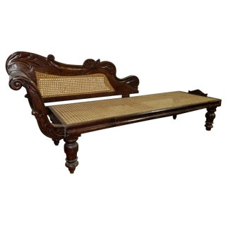 Early 19th Century Vintage West Indies Regency Mahogany and Cane Chaise For Sale