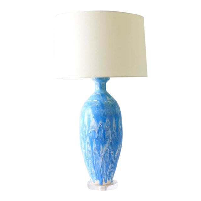 "Paul Schneider Ceramic ""Elizabeth"" Lamp in Drip Banded Robin's Egg Glaze For Sale"