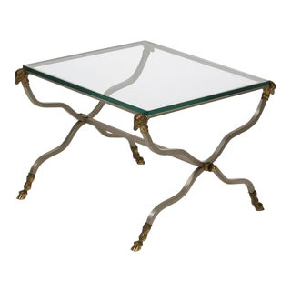 1970s Hollywood Regency Brass, Steel, and Glass X-Form Side Table For Sale