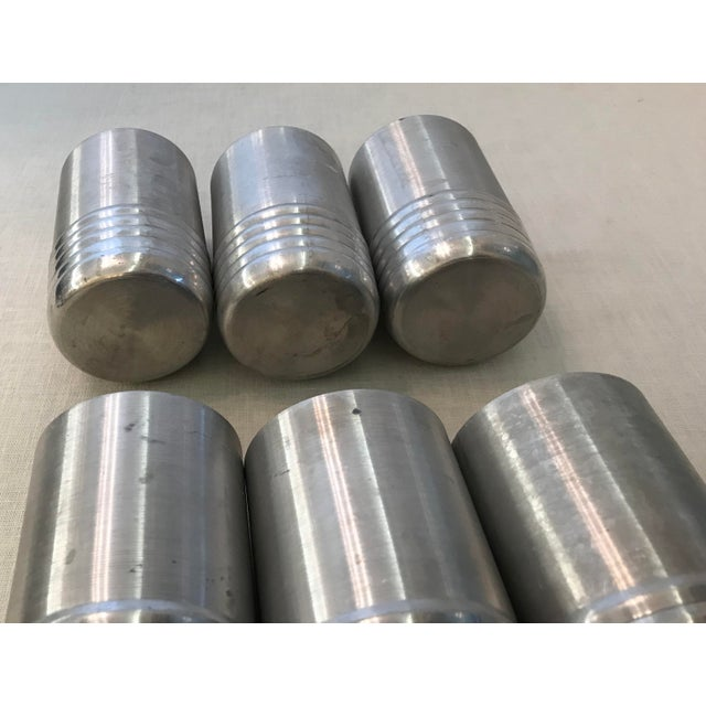 Aluminum Vintage Aluminum Tumblers - Set of 6 For Sale - Image 7 of 8