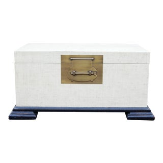 Woven Grass Cloth Ottoman Cocktail Table Chest With Brass Hardware For Sale