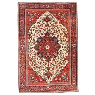 """Antique Persian Farahan Sarouk Hand Knotted Rug-4'3'x6'4"""" For Sale"""