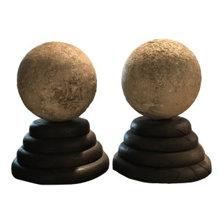 Late 20th Century Orbs on Stand - a Pair For Sale